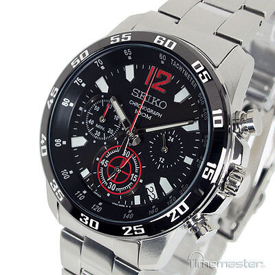 SEIKO MENS CHRONOGRAPH TACHYMETER BLACK FACE STAINLESS STEEL BRACELET SSB129P1