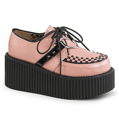 DEMONIA CRE206/BPVL Baby Pink Gothic Heart O-Ring Platform Women Creepers Shoes - Baby Gothic