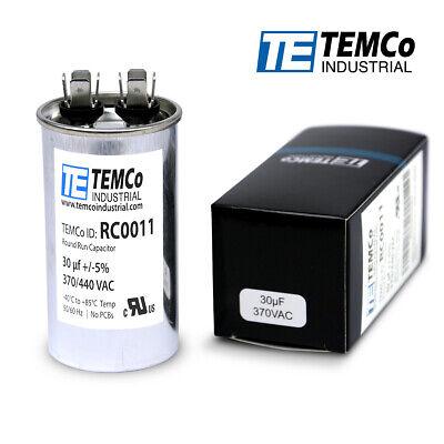 Temco 30 Ufmfd 370 Vac Volts Round Run Capacitor 5060 Hz -lot-1