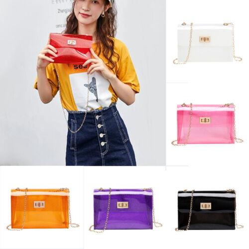 Women Transparent PVC Clear Crossbody Jelly Bag Tote Handbag