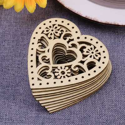 Heart Shapes (10X Unfinished Wooden Laser Cut Heart Shapes Craft Embellishments)