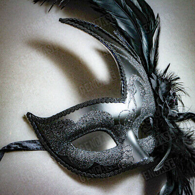 Women Female Face Masquerade Prom Luxury Party Mask Costume with Feather Black - Costumes With Masks For Women