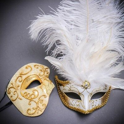 His & Her Couple Masquerade Mask Phantom Feather for Party Prom Dance White Gold - Masquerade Masks White
