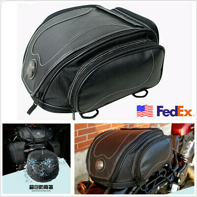 Black PU Leather Motorcycle Tail Seat Bag Luggage Pack Helmet Bag w/ Rain Cover
