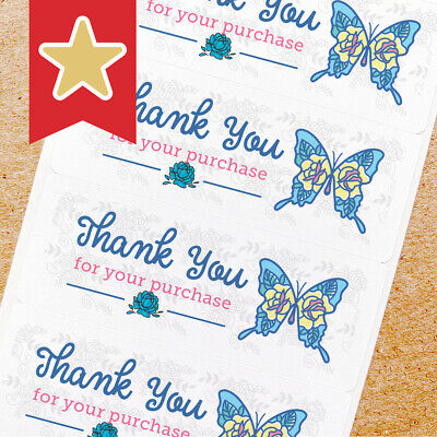 Thank You Labels Stickers For Online Shop Sellers 100ct - Floral Butterfly Blue