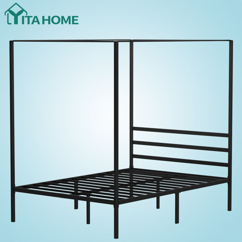 queen metal canopy bed frame with headboard
