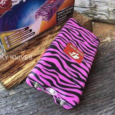 Cheetah PINK ZEBRA 10 Million Volt Stun Gun Rechargeable LED light Self Defense