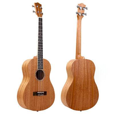 Baritone Ukulele 30 Inch Hawaii Guitar Abalone Soundhole Rosette Matt Mahogany