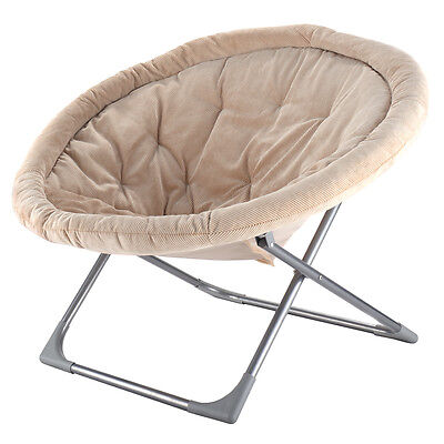 Oversized Mammoth Folding Saucer Moon Chair Corduroy Round Seat Living Room Beige