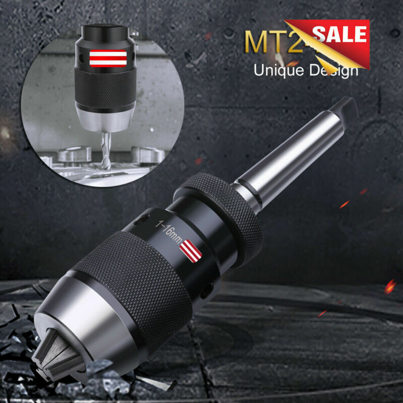 Self Tighten Keyless Lathe Drill Chuck & MT2- JT3 Taper Arbor Live Center 1-16mm