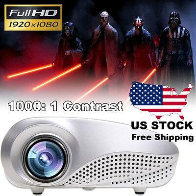 5000 Lumens 1080P Home Multimedia Cinema LED HD Projector AV TV VGA USB HDMI SD