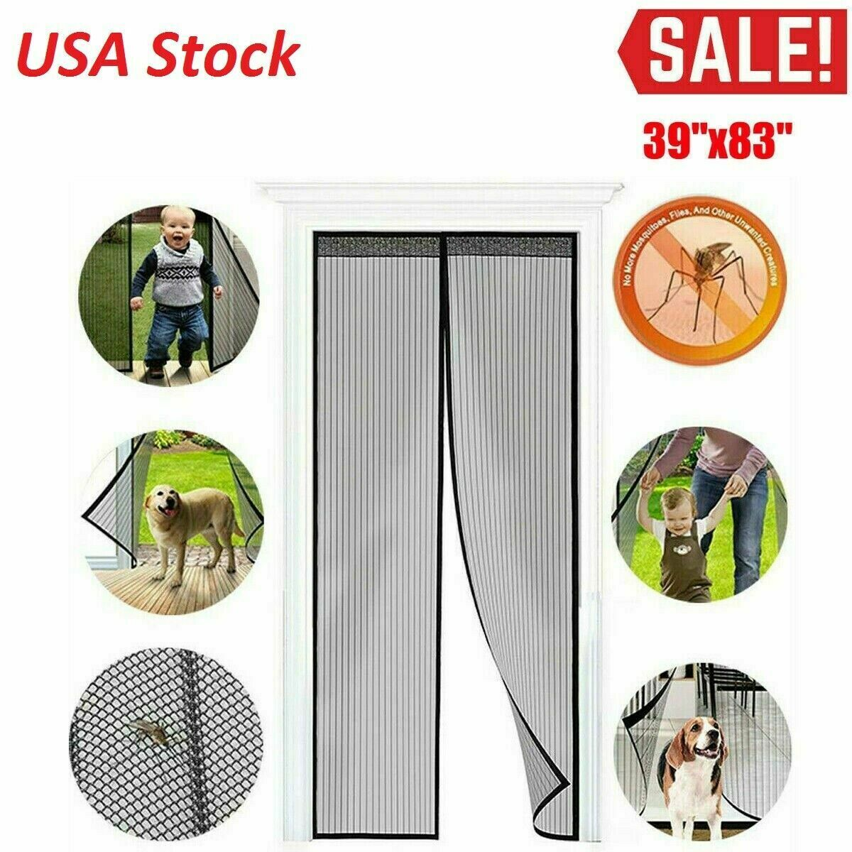 Hands-Free Magnetic Screen Door Mesh Net Mosquito Fly Insect