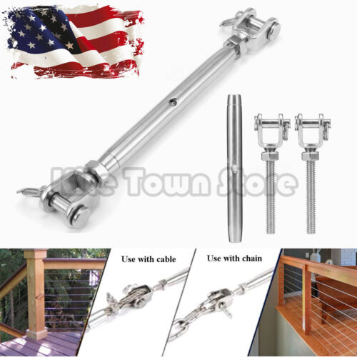 "3/8"" T316 Marine Grade Stainless Steel Jaw/Jaw Closed Body Turnbuckle US"