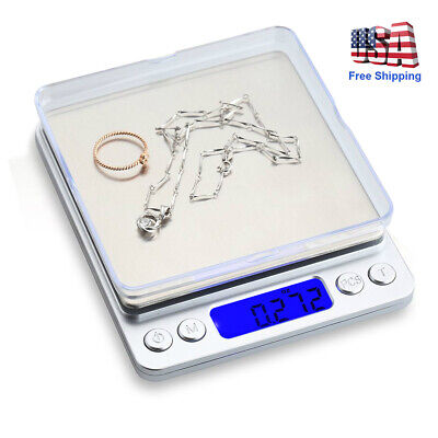 2000g/0.1g Digital Scale+Tray Kitchen Weight LCD Jewelry Food Balance Tool US Digital Jewelry Scale Weight Tray