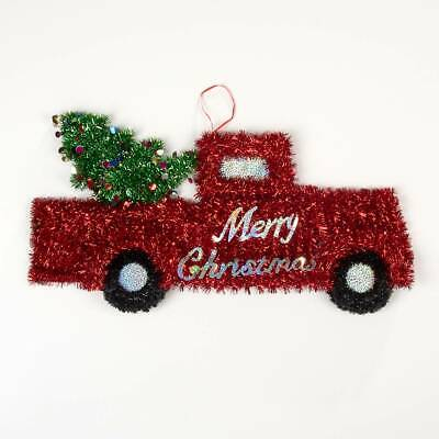 Large 25 Inch Tinsel Red Truck with Christmas Tree Hanging Decoration Ornament