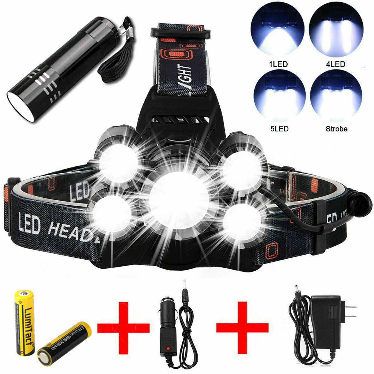 50000LM LED Headlamp 5 Head CREE XM-L T6 18650 Headlight Flashlight Torch Light Camping & Hiking