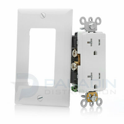 20A Tamper Resistant Commercial Decorator Outlet w/ Wall Plate - UL Listed TR