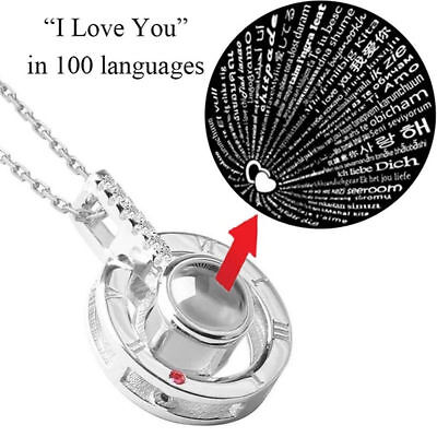 Silver 100 Languages Light I Love You Projection Pendant Necklace Tik Tok - Light Necklace