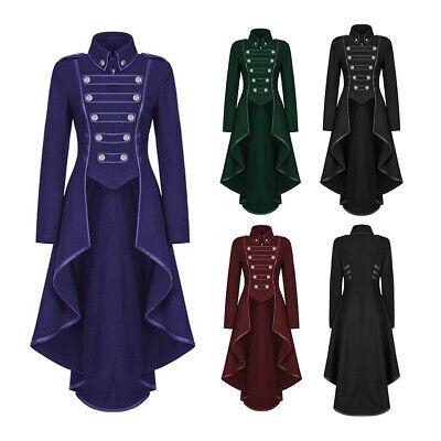 2019 New Women Men Vintage Costume Tailcoat Coat Medieval Gown Tuxedo Lapel Tops - Women Tuxedo Costume