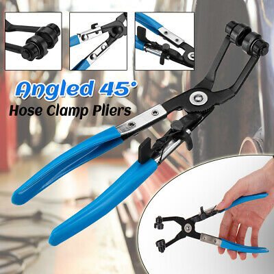 Hose Clamp Pliers Tool Set 45° Angle Swivel Jaw Locking Flat Band Coolant US
