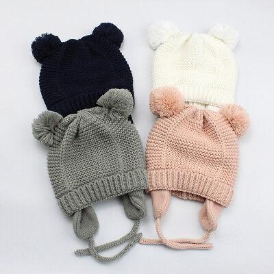 Toddler Kids Girl&Boy Baby Infant Winter Crochet Knit Earflap Beanie Hat Ski (Winter Ski Beanie Earflap)