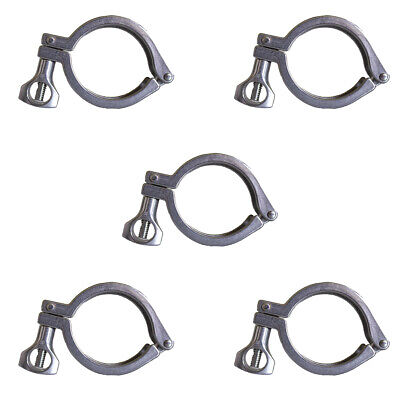 5pc 2 Sanitary Tri-clamp Hinged 304 Stainless Steel 2 Inch Clamp