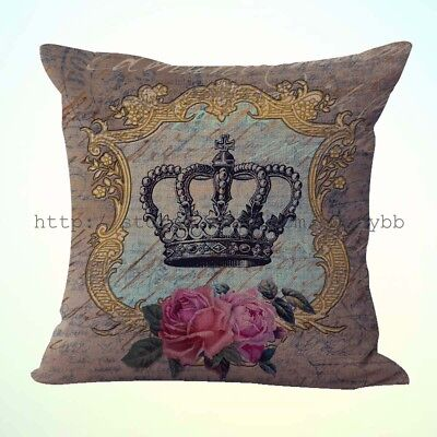 US Seller-shabby chic crown rose cushion cover decorative pillows discount ()