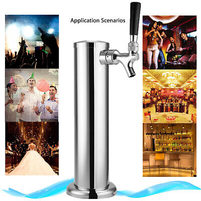 Single Tap Faucet Stainless Chrome Draft Beer Tower Brew Bar For Kegerator Gift