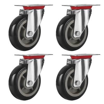 4 Pack 6 Caster Wheels Swivel Plate Casters Black Polyurethane Wheels No Brake