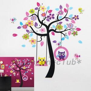 Cute Owl Bird Tree Swing Wall Sticker Decal For Kids Baby Nursery Room Decor
