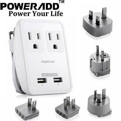 Dual USB UK/AU/EU/JP/US Universal Travel AC Power Charger Ad