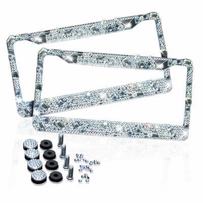 2 Silver Metal Diamond Bling Glitter License Plate Frame Cover Crystal RhineSton Metal Plate Frame
