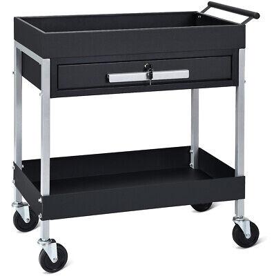 2 Shelf Tool Cart Utility Service Cart Heavy Duty Wlock Drawer Wheels Black