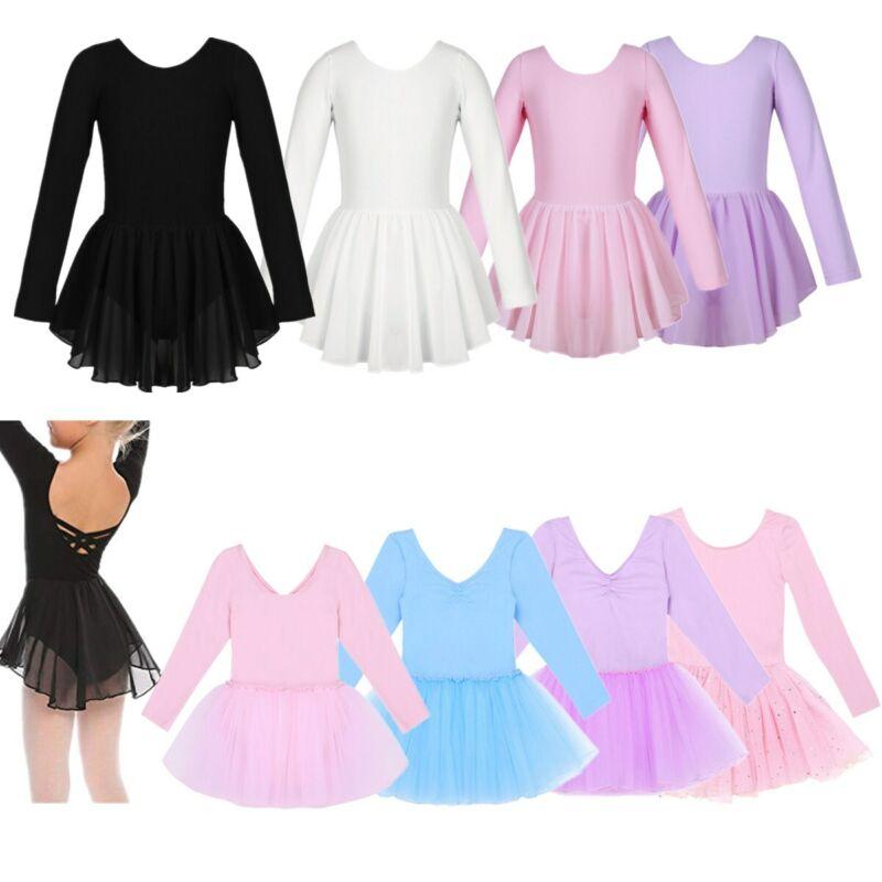 Toddler Girl Leotard Gymnastic Ballet Dance Dress Long Sleev