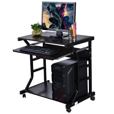Black Home Office Computer Desk Rolling Table Workstation Pull Out Keyboard Tray