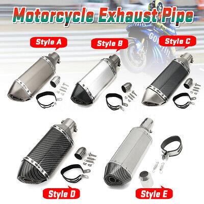 38-51mm Motorcycle Carbon Fiber Exhaust Pipe Muffler Silencer Slip On Removable