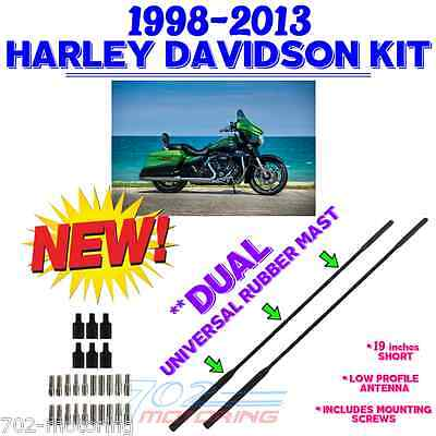 "98-2013 ANTENNA XB DUAL (2) EURO STYLE (19"") ANTENNA MASTS FOR HARLEY DAVIDSON"