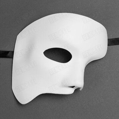 Half White Mask (Phantom of the Opera Mask for Men Masquerade Classic Half Phantom Mask -)