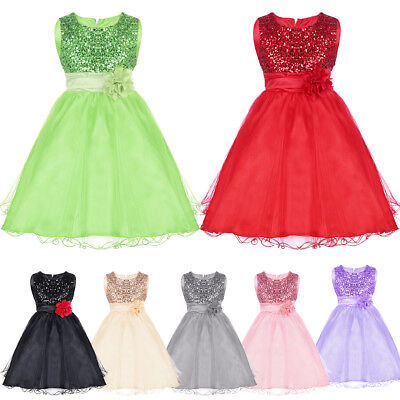 Mädchen Prinzessin Pailletten Kleid Festkleid für Kinder Hochzeit Partykleider