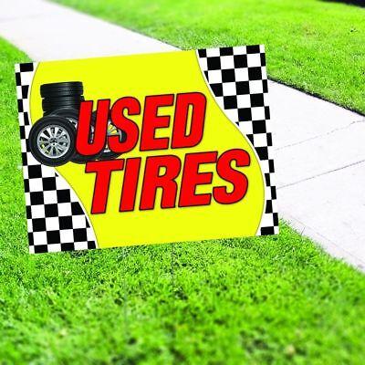 Used Tires Advertisement Plastic Indoor Outdoor Coroplast Yard Sign