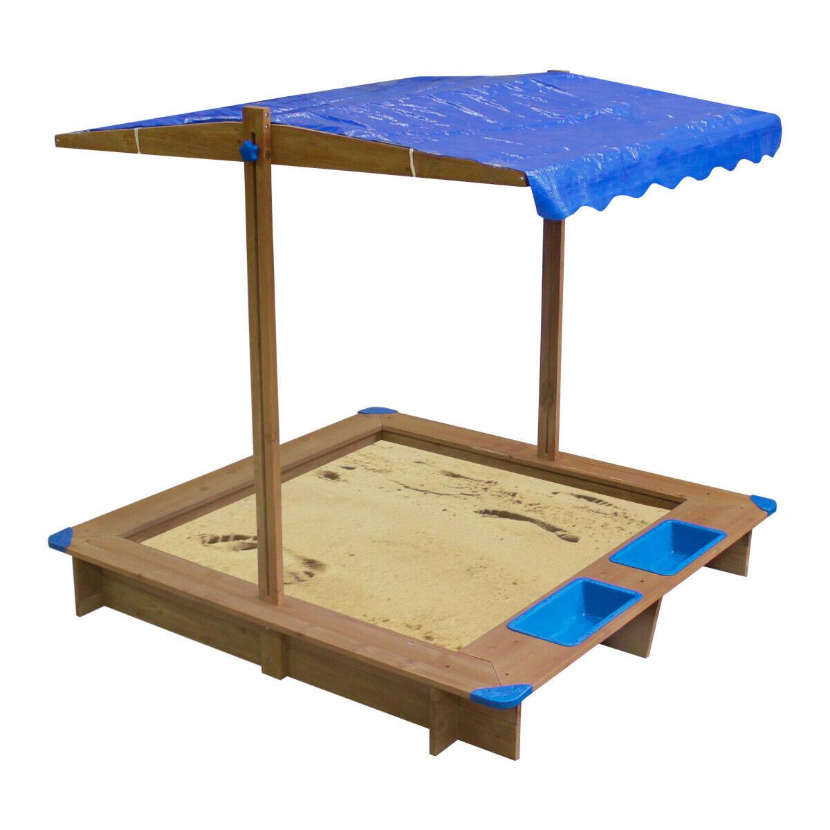 Sandkasten mit verstellbarem Dach Sandbox Sandkiste 126 x 121 x 118 cm Holz