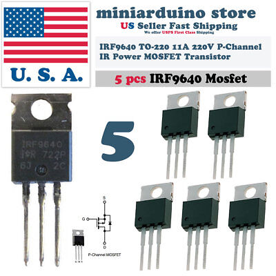 5pcs Irf9640 Irf 9640 Power Mosfet 11a 200v To-220 Ir P-channel Transistor