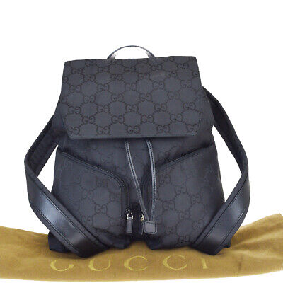Authentic GUCCI GG Pattern Backpack Bag Nylon Leather Black Italy 39MA317