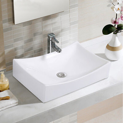 Bathroom Rhombus Ceramic Vessel Sink Vanity Pop Up Drain Modern Art Basin New