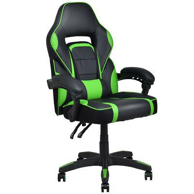 Executive Racing Style Pu Leather Gaming Chair High Back Recliner Office Green