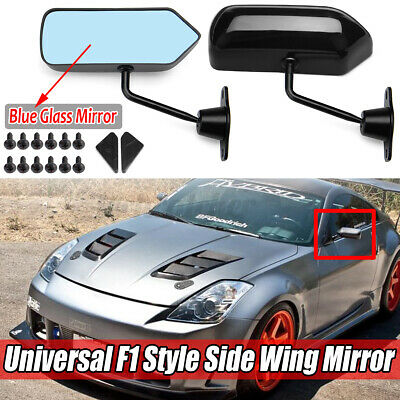 Universal F1 Style Car Racing Rearview Side Wing Mirrors Blue Convex Glass Black