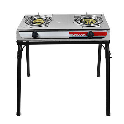 Outdoor Portable Propane Double Burner 2-Stove Camping Tailgating Camp w/ Stand