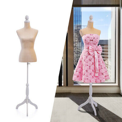 Female Canvas Mannequin Torso Dress Form Clothing Display W White Tripod Stand