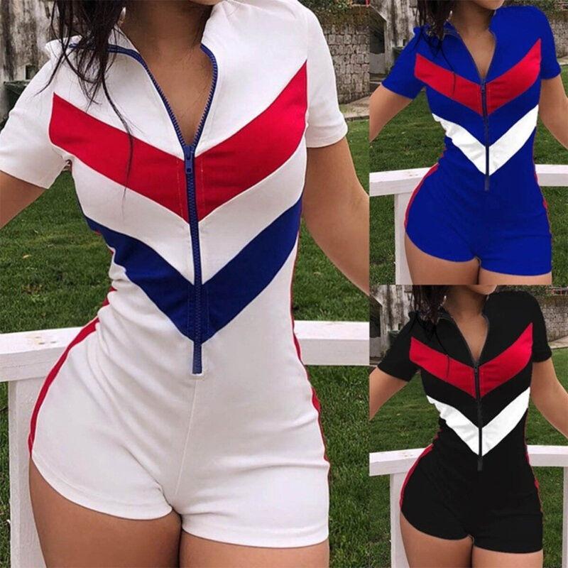Women Zipper Short Pants Jumpsuit Rompers Summer Casual Spor
