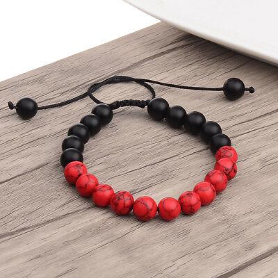 New Charm Men's Red Turquoise Matte Agate Beaded Bracelets Mala Energy Bracelets (Turquoise Matte)